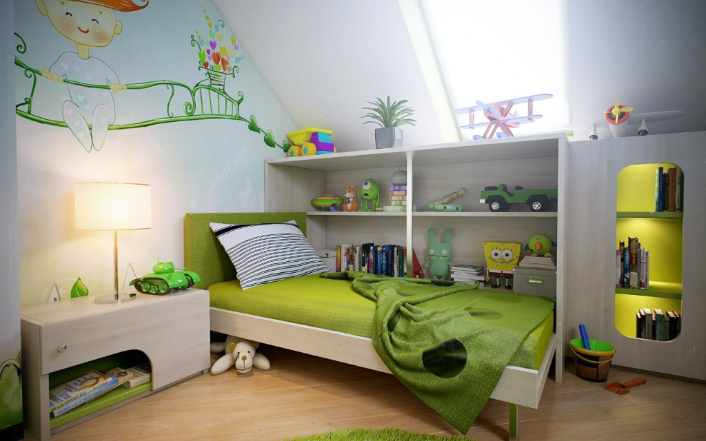 Green-white-boys-room-wall-mural