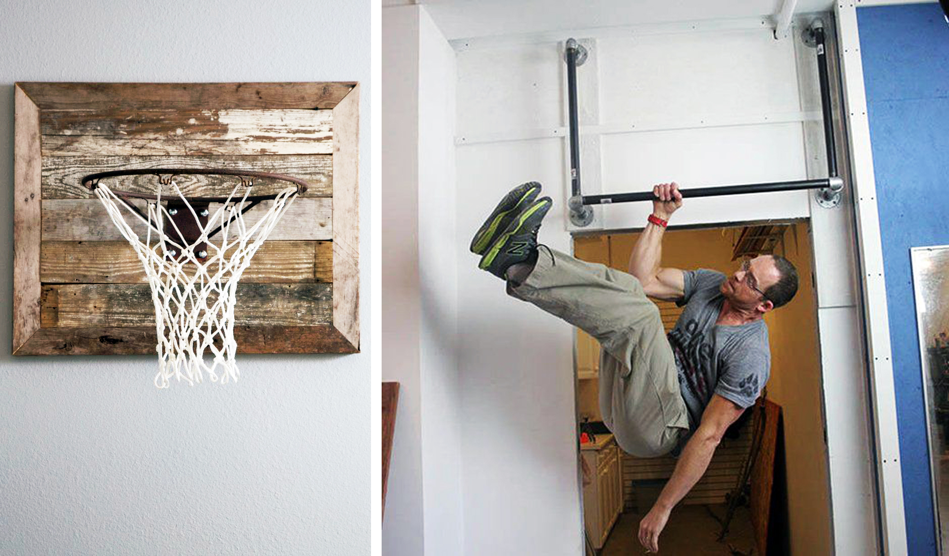 A basketball hoop on a rustic, reclaimed wood backboard is both decorative and playful in Preston's playroom, as seen on HGTV's Fixer Upper. (detail)